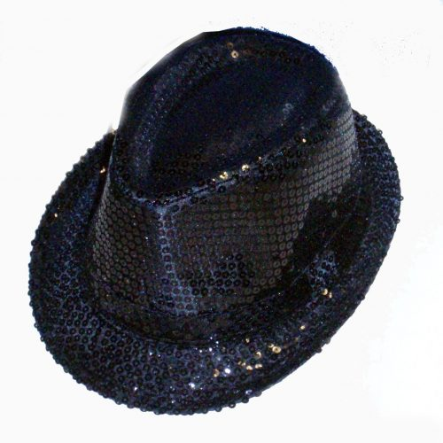 Black Sequin Gangster Hat-345