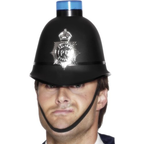 Police Helmet with Flashing Siren Light-0