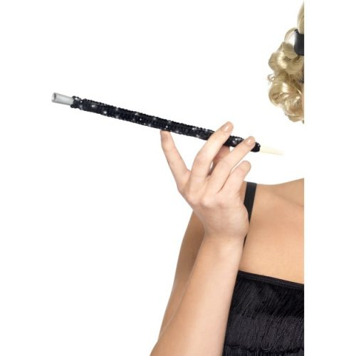 Black Sequinned Cigarette Holder-0