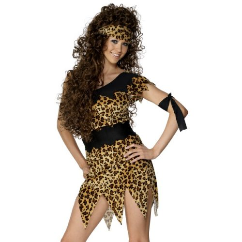 Cavewoman Costume, Black and Brown-0