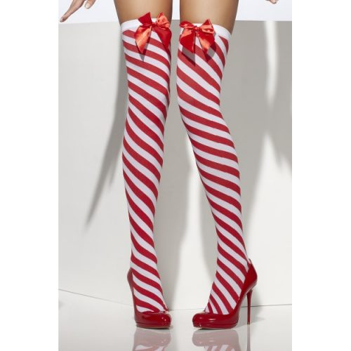 Candy Stripe Thigh High Stockings, Red and White-0