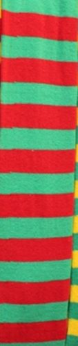 WW4177-GREEN AND RED STRIPED OVER THE KNEE SOCKS-261856