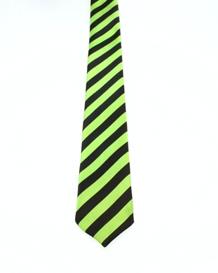 WW5865 Black and neon green striped tie -261914