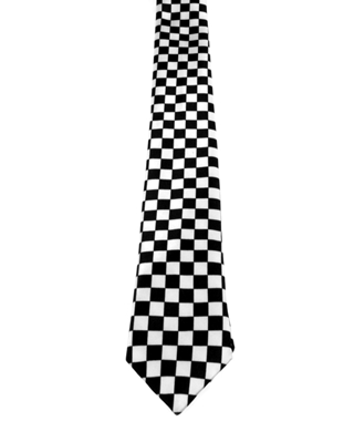 WW5824 Chequered black and white tie -0