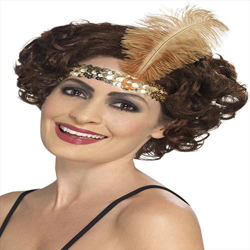 GOLD FLAPPER HEAD BAND WITH FEATHER