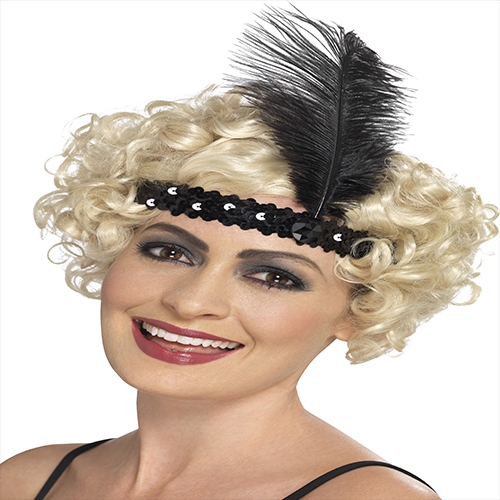 BLACK FLAPPER HEAD BAND