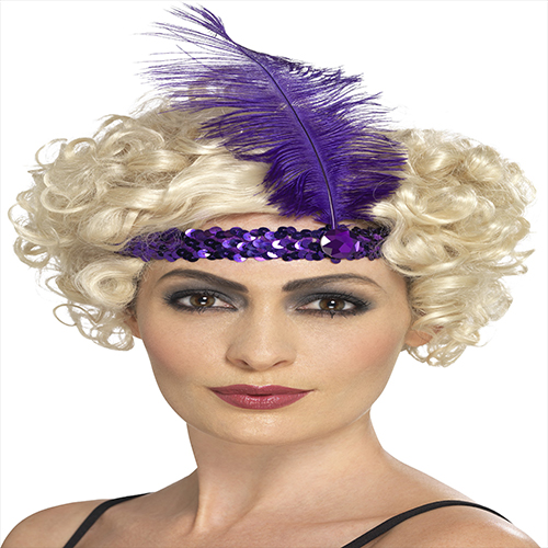 PURPLE FLAPPER HEAD BAND WITH FEATHER