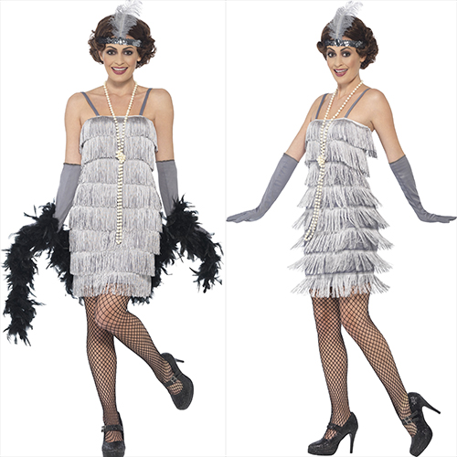 SILVER  DRESS WITH HEAD PIECE AND GLOVES