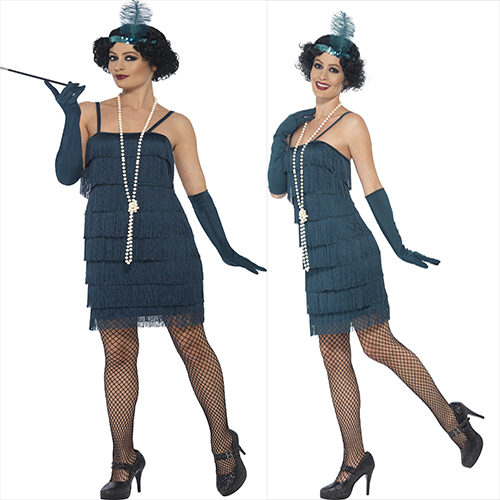 TEAL  DRESS WITH HEAD PIECE AND GLOVES     Flapper Costume, Teal  Flapper Costume, Teal