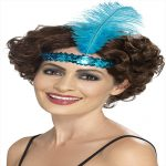 BLUE FLAPPER HEAD BAND WITH FEATHER