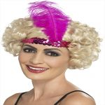 PINK FLAPPER HEAD BAND WITH FEATHER