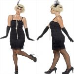 BLACK  DRESS WITH HEAD PIECE AND GLOVES