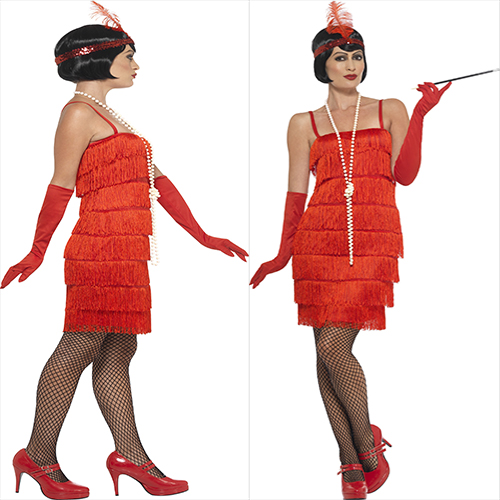 RED  DRESS WITH HEAD PIECE AND GLOVES