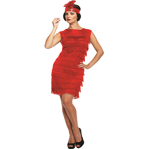 RED FLAPPER DRESS WITH FEATHERED HEAD BAND