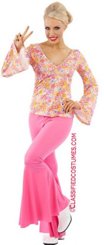 70'S FLORAL TOP WITH PINK FLARES  AND HEAD SCARFS
